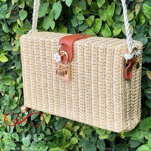 Meadow, Picnic Basket inspired Shoulder Bag BEIGE